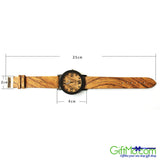 Fashionable Unisex Natural Bamboo Wood PU Band Watches Men Women's Quartz Wooden Wrist Watch - GiftMo