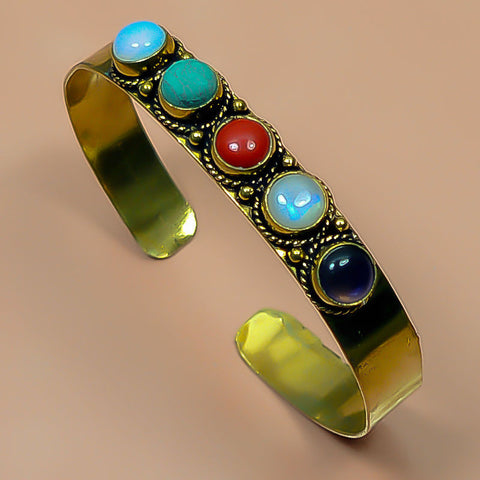 Unique Solid Brass Turquoise Amethyst Moonstone Bangle Pn1004 Weight 30 - GiftMo