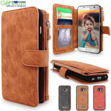 Smart Design Genuine Multifunction Leather Zipper Wallet Card Case Cover For Samsung