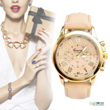 Elegant Stainless Steel Beige Colored Leather Strap Analog Wrist Watch Quartz For Women - GiftMo