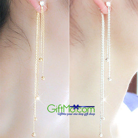 Stunning Silver Rhinestone Alloy Long Tassels Drop Dangle Earrings - GiftMo