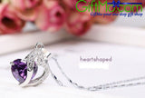 Stunning 925 Sterling Silver Necklace Chain Amethyst Crystal Heart Purple Pendant