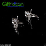 1 Cent Offer 925 Sterling Silver Jewelry Angels Wings Crystal Stud Earrings - GiftMo