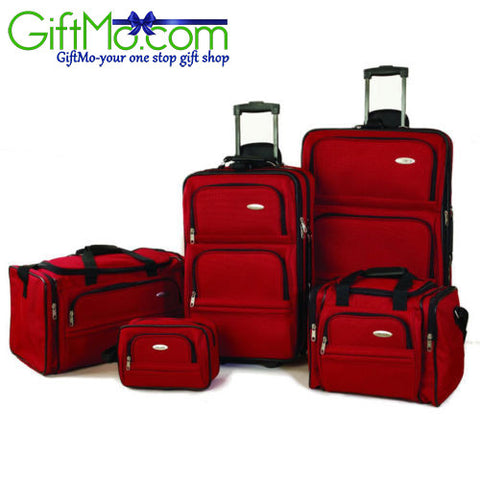 Beautiful Samsonite 5 pc Nested Luggage Travel Set Red Rolling Suitcase Carry On Baggage - GiftMo