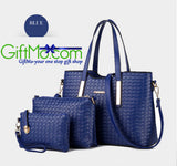 Stylish 3-Piece Fashionable Leather Tote Purse + Shoulder Bag - GiftMo