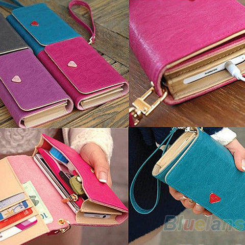 Beautiful Ladys's Envelope Zipper Faux Leather Card Holder Wallet Purse Clutch Phone Bag - GiftMo