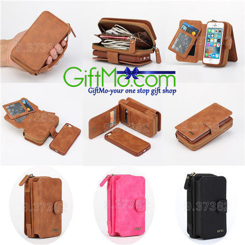 Beautifully Designed Genuine Leather Multi Functional Zipper Wallet Case Cover For Samsung - GiftMo