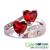Gorgeous Double Heart Ruby Spinel and White Topaz Sterling Silver Ring - GiftMo
