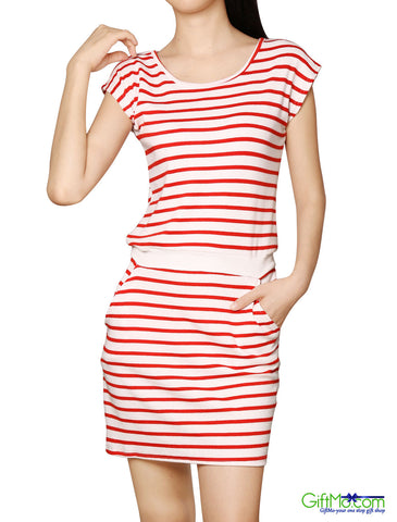 Beautiful Stripes Round Neck Casual Sleeveless Dress - GiftMo
