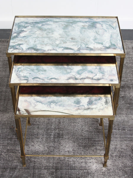 Brass nest tables Maison Jansen