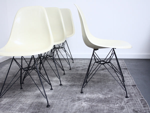 set of 4 parchment Eames DSR chairs