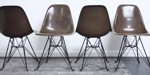 set of 4 seal brown Eames DSR chairs