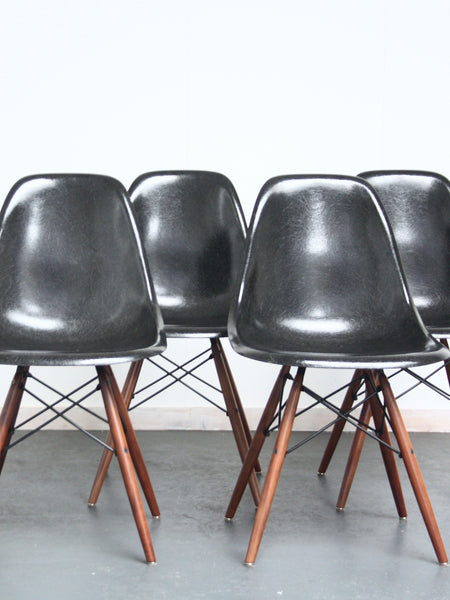 set of 4 black Eames DSW chairs