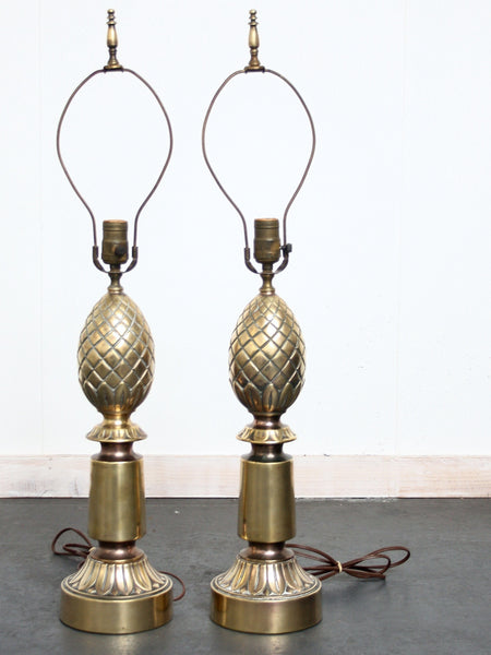pair of brass pineapple Stiffle lamps