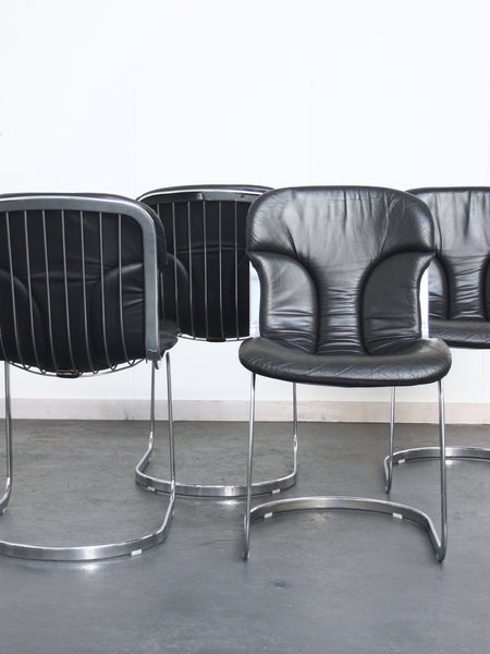 set of 4 chrome and leather chairs by Cidue
