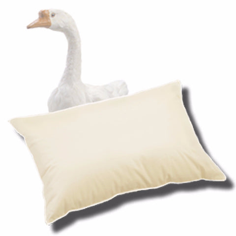 Fluffy cream down pillow with a white goose
