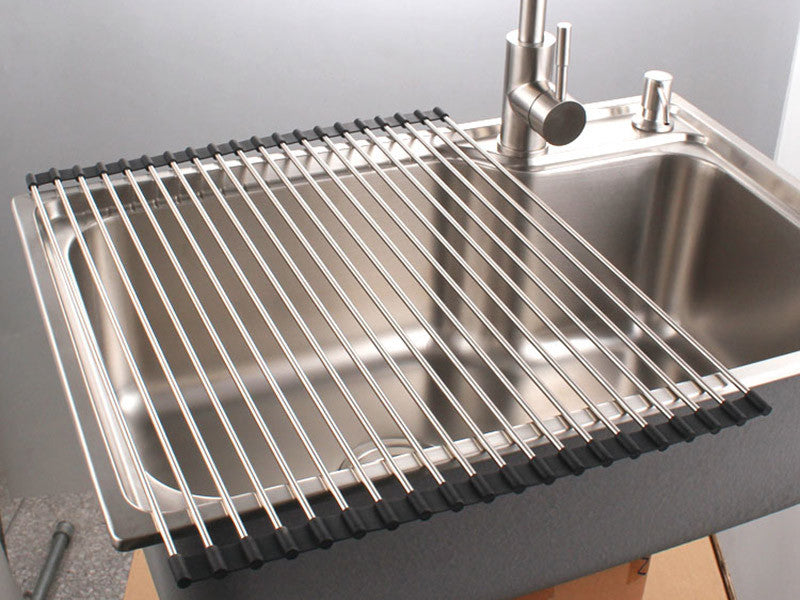 Kitchen Sink Drain Rack 6 premiumracks stainless steel over the sink dish rack roll up du 6 premiumracks stainless steel over the sink dish rack roll up durable workwithnaturefo