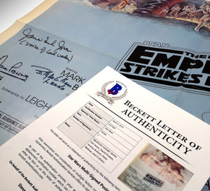 Theatrical Release Star Wars 'Empire Strikes Back' poster, cast-signed -  Beckett Authenticated 1980 vintage