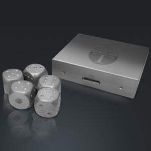 Set Of 5 Rare-T Precision Dice With Elegant Square Aluminum Storage Box