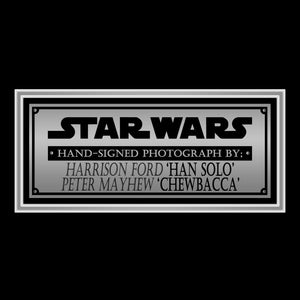 Star Wars Han Solo & Chewbacca Hand-Signed Photo By Harrison Ford & Peter Mayhew Custom Frame