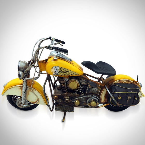 50's Indian Chief Handmade Yellow Motorcycle