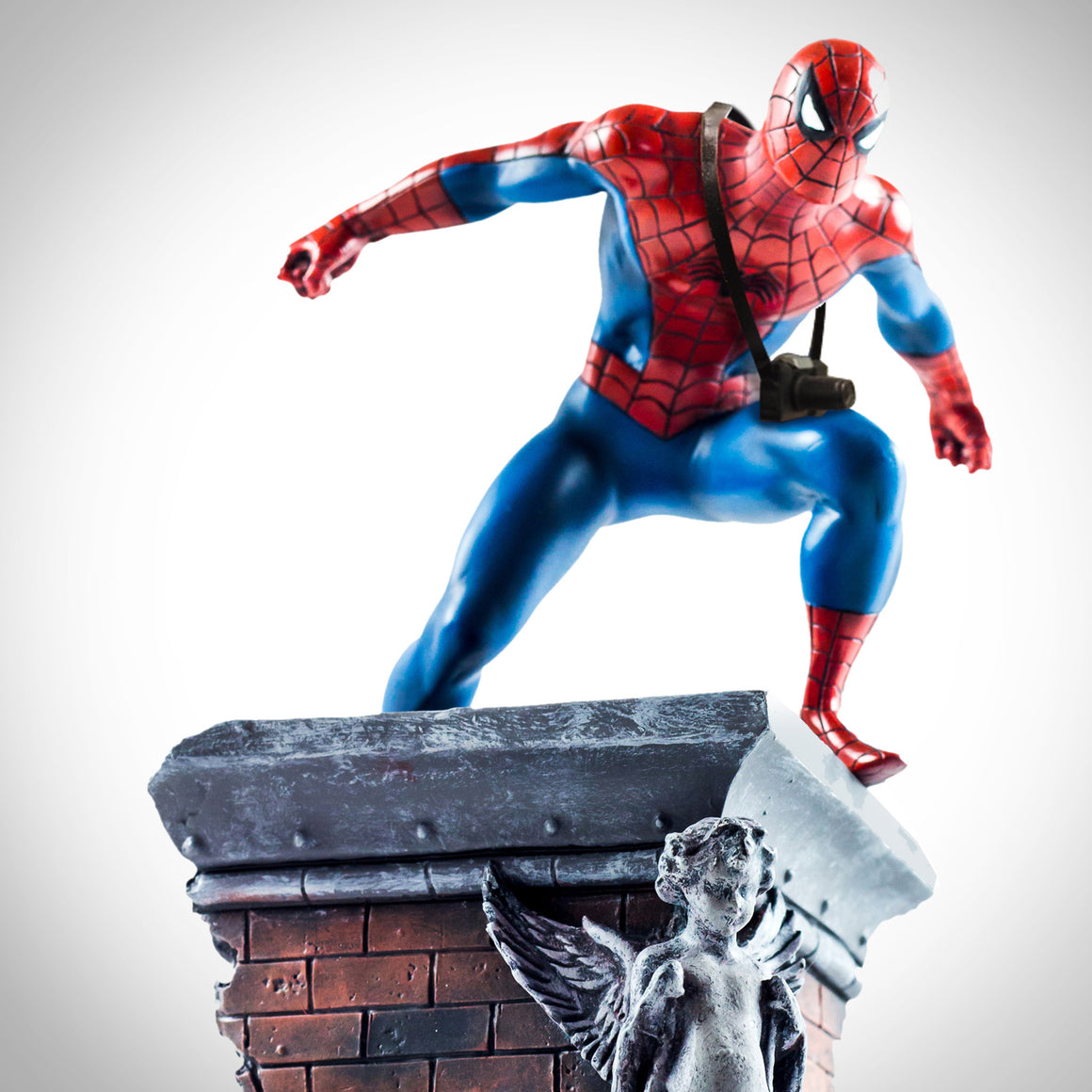 SPIDER-MAN- Hand-Signed Spider-Man Statue with Camera on Building by Stan Lee