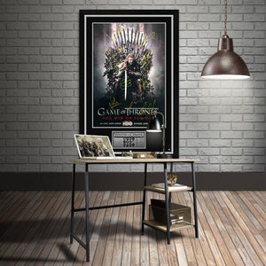 Game Of Thrones - Hand-Signed 'The Iron Throne' Poster By Cast Members Custom Frame.