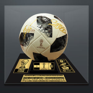 Cristiano Ronaldo Vs Lionel Messi- Dually Hand-Signed Soccer Ball Custom Museum Display