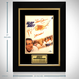 Slap Shot Hand-Signed Mini Poster By Paul Newman, Dave Hanson, Jeff Carlson & Steve Carlson Rare-T Exclusive Custom Frame