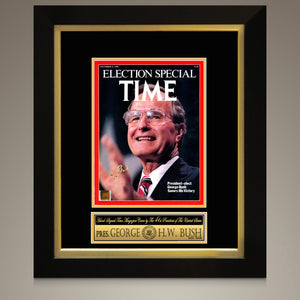 George H. W. Bush-  Hand-Signed Election Special Time Magazine 1988 Cover Photo Custom Frame
