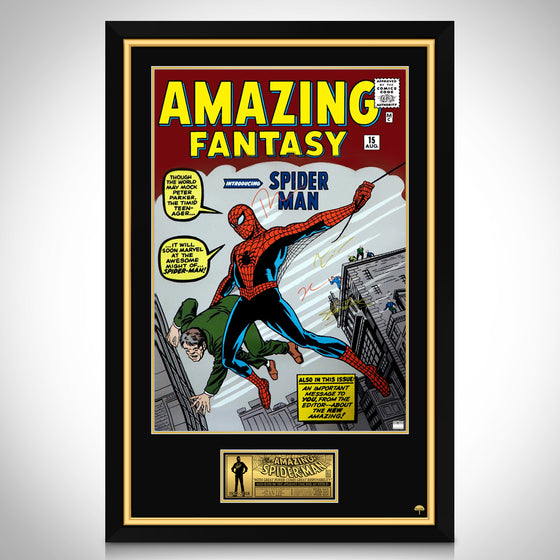 SPIDER-MAN - Hand-Signed Amazing Fantasy #15 Comic book Poster by Tom, Andrew, Tobey & Stan Lee