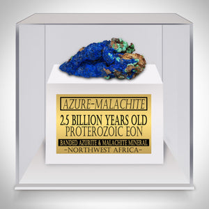 Azure-Malachite -2.5 Billion Years Old Banded Mineral Moroccan Azure-Malachite Custom Museum Display