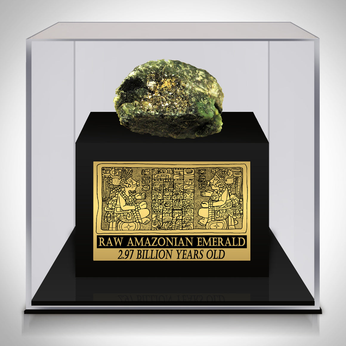 Authentic  2.97 BILLION YEARS OLD RAW AMAZONIAN EMERALD Displayed in a Rare-T Exclusive Custom Museum Display