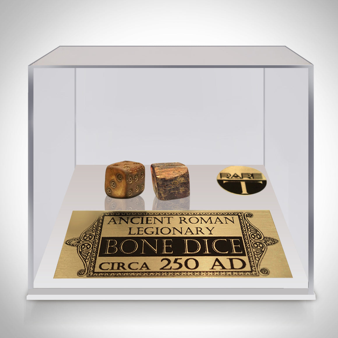Authentic PAIR OF ANCIENT ROMAN LEGIONARY BONE DICE - CIRCA 250 AD Displayed in a Rare-T Exclusive Custom Museum Display