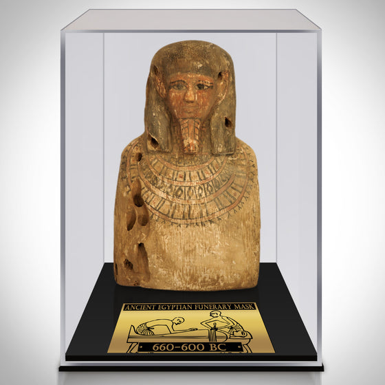 Authentic ANCIENT EGYPTIAN FUNERARY MASK FROM 660-600 BC Displayed in a Rare-T Exclusive Custom Museum Display