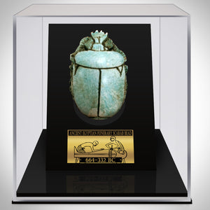 Authentic Xl Glazed Steatite Funerary Scarab Bead Displayed In A Rare-T Exclusive Custom Museum Display