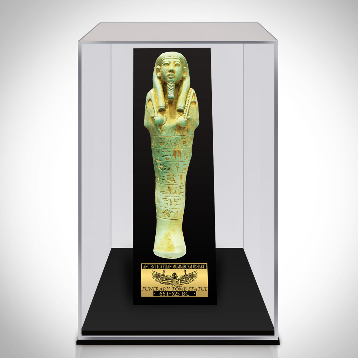 Authentic XL USHABTI TOMB STATUE From 664-525BC Displayed in a Rare-T Exclusive Custom Museum Display