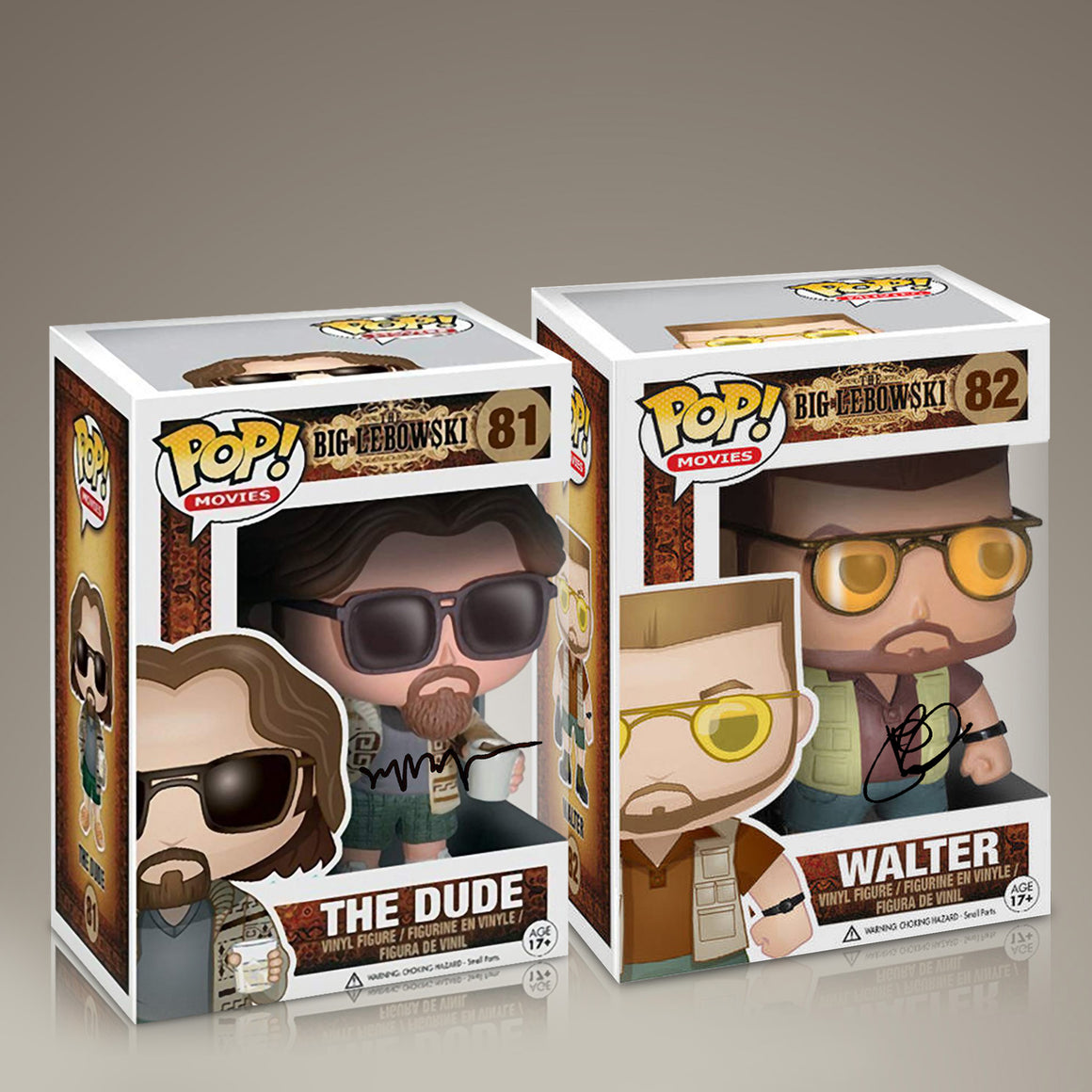 Big Lebowski- The Dude & Walter 'RARE' Set of 2, Hand-Signed Funko POPS by Jeff Bridges & John Goodman