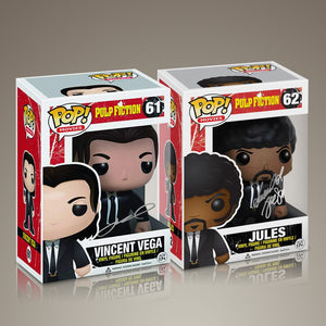 Pulp Fiction- Vincent & Jules Hand-Signed Set of 2 Funko POPS by JOHN TRAVOLTA & SAMUEL L. JACKSON