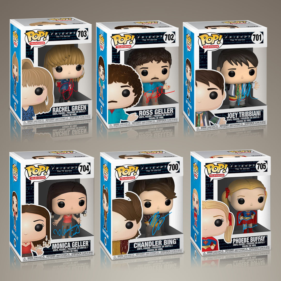 Friends- Hand-Signed Set of 6 Funko POPS, by Jennifer Aniston, Courteney Cox, Lisa Kudrow, Matt LeBlanc, Matthew Perry & David Schwimmer