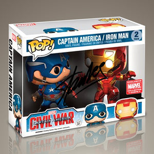 Captain America Vs Iron Man- Civil War Hand-Signed Set Of 2 Funko Pops By Stan Lee