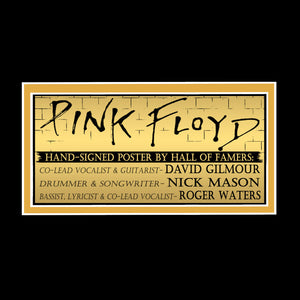 Pink Floyd Hand-Signed Back Poster By Roger Waters, David Gilmore & Nick Mason Custom Frame