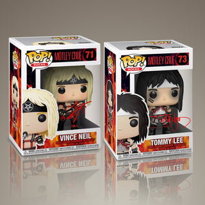 MOTLEY CRUE - Hand-Signed Set of 2 Tommy Lee & Vince Neil Funko Pop #71 #73 by Tommy & Vince