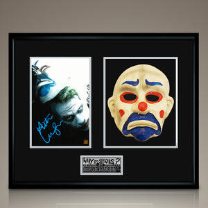 Batman Dark Knight- Clown Mask Prop And Hand-Signed Photo By Heath Ledger Custom Frame