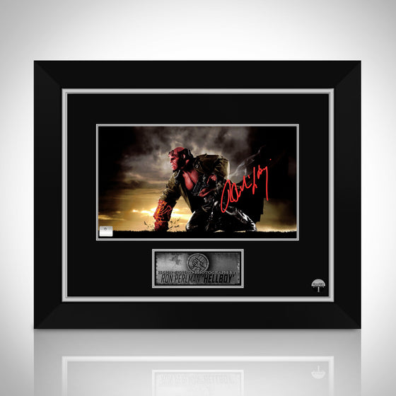 HELLBOY- Hand-Signed Fist Smashing the Ground Photo Signed by Ron Perlman Custom Frame
