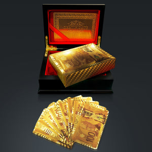 24K Gold Plated Playing Cards With $100 CAD Pattern