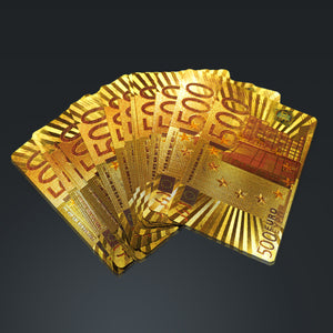 24K Gold Plated Playing Cards With 500 Euros Pattern