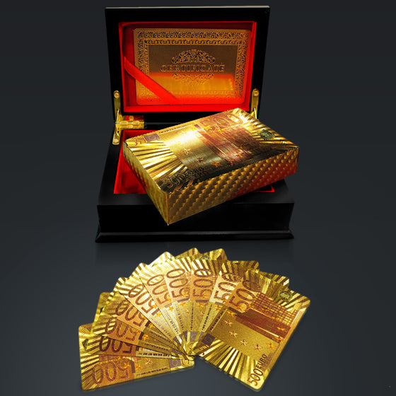 24K GOLD PLATED Playing Cards with €500 Euros Pattern