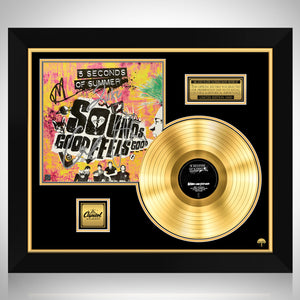 5 Seconds of Summer - Sounds Good Feels Good Gold LP Limited Signature Edition Studio Licensed Custom Frame