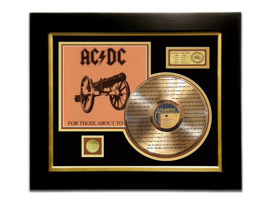 LIMITED EDITION ETCHED GOLD LP 'AC/DC - FOR THOSE ABOUT TO ROCK' CUSTOM FRAME